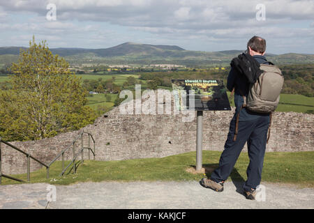View over the Shropshire Hills from Montgomery Castle on the Welsh border - Stock Photo