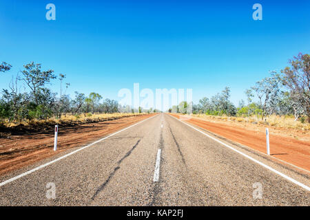 The remote outback Landsborough Highway between Longreach and Winton, Queensland, QLD, Australia - Stock Photo