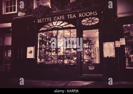 Bettys Tea Rooms at night, York, North Yorkshire, England, UK - Stock Photo