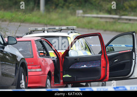 Gordano Services, Portishead, Bristol, UK. 27th Sep, 2017. Police and Air ambulance at the scene of a major shooting. - Stock Photo