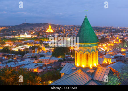 Night aerial view of Old Town, Tbilisi, Georgia - Stock Photo