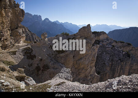 Hike on the Bonacossa high route in the Cadinigroup, Sexten Dolomites, South Tirol, Northern Italy, Italy, - Stock Photo