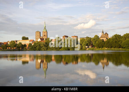 View over the Knieperteich on the Old Town of the Hanseatic town Stralsund, Mecklenburg-West Pomerania, North Germany, - Stock Photo