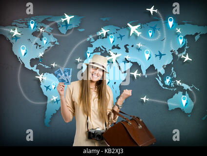 happy tourist with ticket for travel around the world - Stock Photo