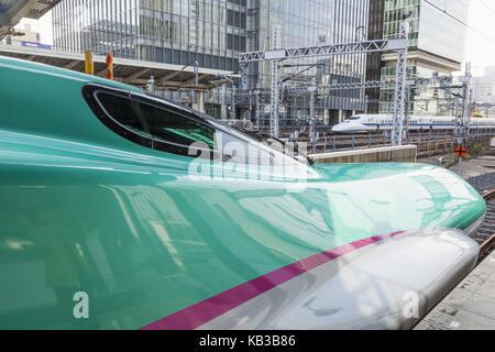 Japan, Honshu, Tokyo, railway station, Tokyo station, Shinkansen high-speed train, 'Bullet Train', - Stock Photo