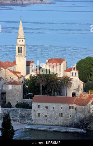 Montenegro, Adriatic coast, old town of Budva - Stock Photo