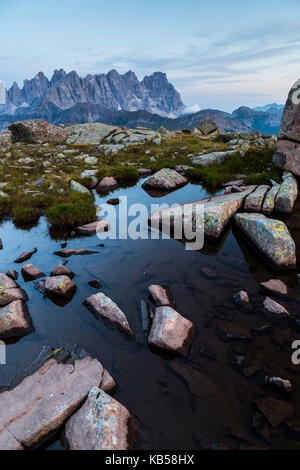 Europe, Italy, Alps, Dolomites, Mountains, Pale di San Martino, View from Col Margherita Park - Stock Photo