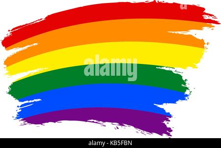 Use it in all your designs. Rough paint brush stroke made in the colors of the rainbow pride flag LGBT movement - Stock Photo