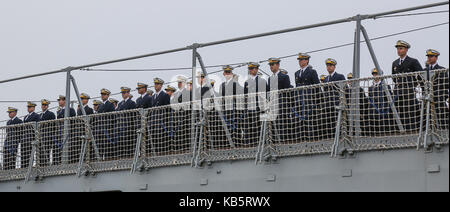 The crew of the Brazilian training vessel 'Navio Escola Brasil' can be seen on board at a pier in Hamburg harbour, - Stock Photo