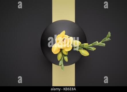 Yellow Freesia in black Vase - Stock Photo