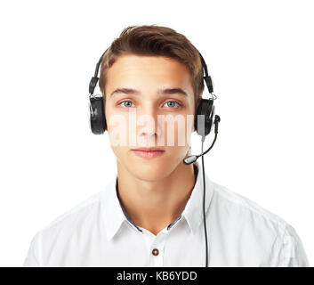 Closeup portrait of young man call center employee with a headset isolated on white background - Stock Photo