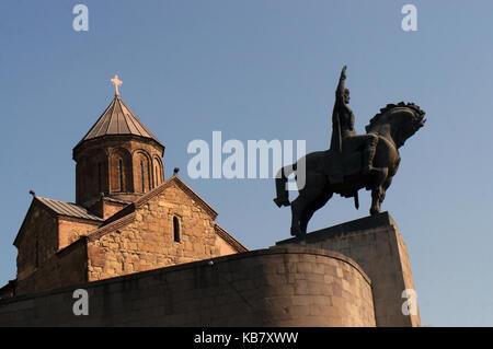 King Vakhtang Gorgasali monument in Tbilisi, Georgia - Stock Photo