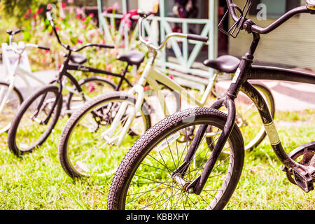 Row of retro, vintage bicycles, bikes outside of house, home, building in summer grass for rent with sunlight, sunny - Stock Photo