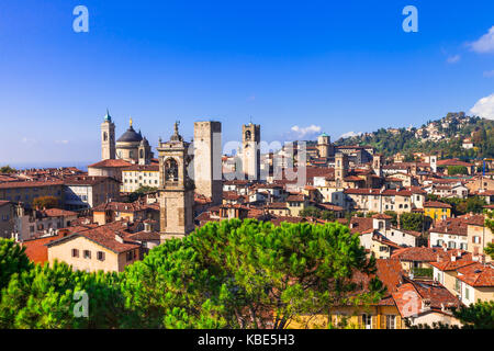 Old Bergamo medieval town,Lombardia,panoramic view,Italy. - Stock Photo