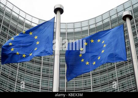 Belgium: European flags in front of European Commission in Brussels. Photo from 12. August 2017.   usage worldwide - Stock Photo