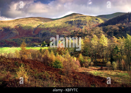A colourful autumn view of the landscape around Thirlmere in the Lake District, England, UK - Stock Photo