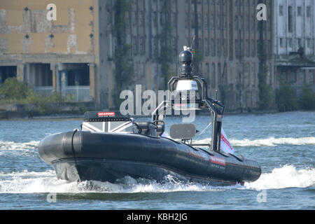 BAE Systems unmanned Pacific 950 RHIB being demonstrated at DSEi 2017 - Stock Photo