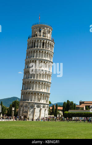 Pisa, Italy - August 17, 2014: The Leaning Tower of Pisa in Pisa, Tuscany, Italy. - Stock Photo