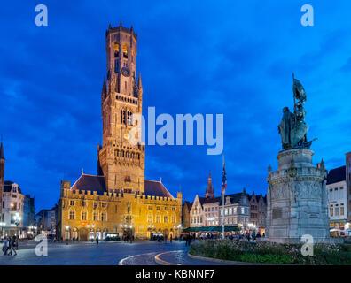 The Belfry of Bruges (Belfort van Brugge), Market Square (Markt), Bruges (Brugge), Belgium - Stock Photo