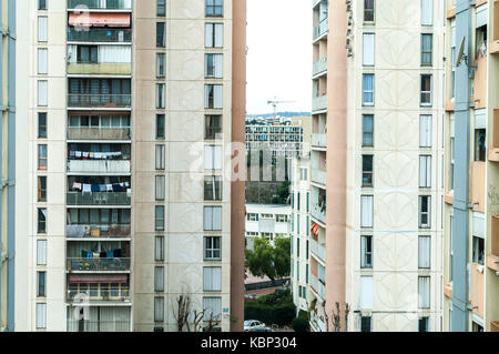 High rise building in the council estate named les MoulinS in Nice, France - Stock Photo
