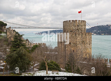 Rumelihisarı fortress in Istanbul, Turkey, on a hill at the European side of the Bosphorus - Stock Photo