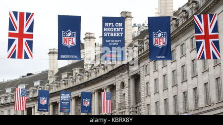London, UK. 30th September, 2017. NFL on Regent Street - the length of London's major Shopping street is closed - Stock Photo