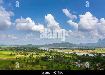 Beautiful rural landscape near Hpa-an, Kayin State, Myanmar - Stock Photo