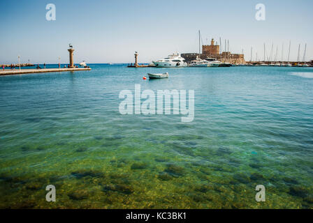 Rhodes, Greece - August 26, 2017: Mandraki harbor, Rhodes Island, Greece - Stock Photo
