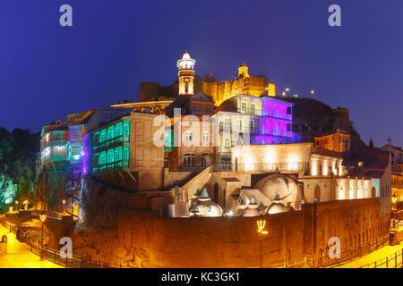 Narikala and Abanotubani at night, Tbilisi, Georgia - Stock Photo