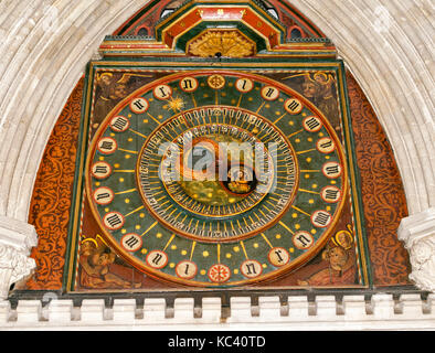 WELLS CITY SOMERSET ENGLAND CATHEDRAL ASTRONOMICAL CLOCK FACE IN THE NORTH TRANSEPT - Stock Photo