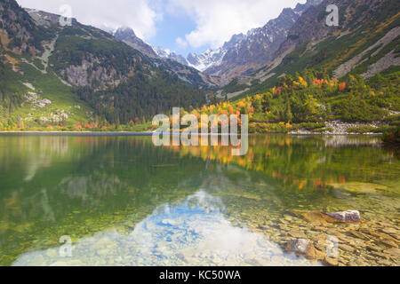 Autumn scenery on Popradské pleso. Slovakia. It is a mountain lake of glacial origin located in the High Tatras, - Stock Photo