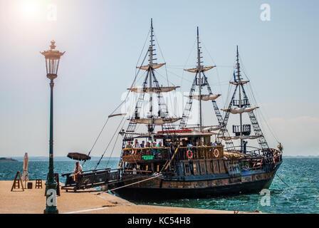 Thessaloniki, Greece - June 06, 2017: Tourist ship in Thessaloniki, corsair - Stock Photo