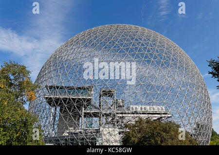 Montreal Biosphere geodesic dome in Parc Jean Drapeau, Ile Sainte-Helene, Montreal, Quebec, Canada - Stock Photo