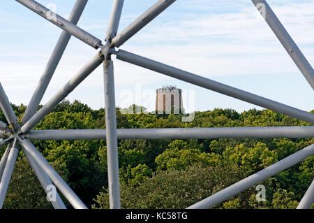 The Levis Tower or Tour de Levis from the Montreal Biosphere, Parc Jean Drapeau park, Ile Sainte-Helene, Montreal, - Stock Photo