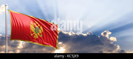 Montenegro waving flag on blue sky. 3d illustration - Stock Photo