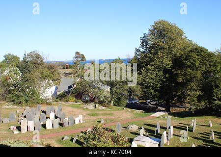 Old Burial Point Cemetery in Marblehead, Massachusetts where the movie Hocus Pocus was filmed in 1992 for Disney - Stock Photo