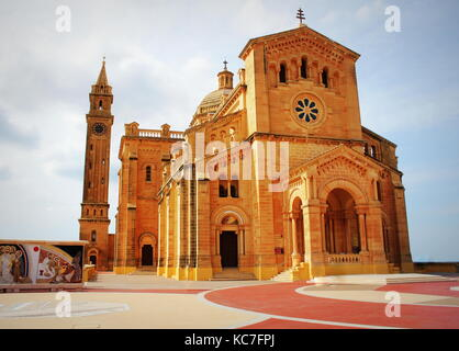 The basilica of the Virgin Of Ta Pinu near the village of Gharb in Gozo - Stock Photo