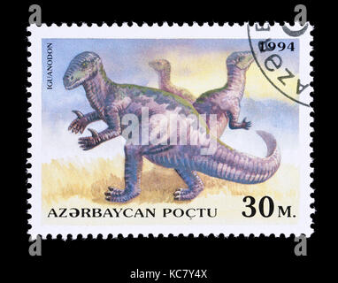 Postage stamp from Azerbaijan depicting iguanodon - Stock Photo