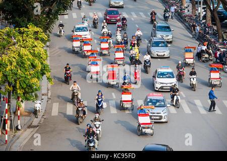 Traffic in Hanoi, Vietnam - Stock Photo