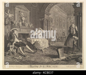 Marriage A-la-Mode, Plate II, After William Hogarth, April 1, 1745 - Stock Photo