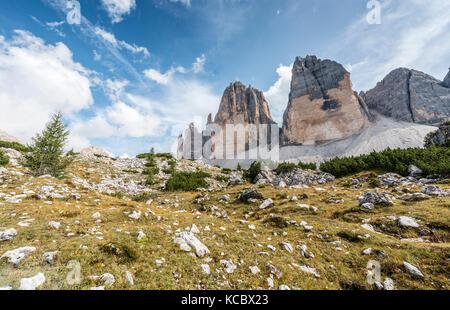 Northern walls of the Three Peaks of Lavaredo, Sesto Dolomites, South Tyrol, Trentino-South Tyrol, Alto-Adige, Italy - Stock Photo
