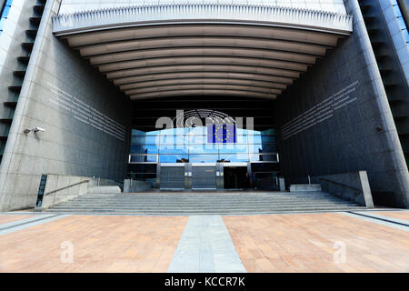 Brussels, Belgium - July 17, 2017: Main entrance of  the European Parliament building. EU Parliament building in - Stock Photo