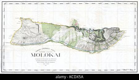 1897, Land Office Map of the Island of Molokai, Hawaii - Stock Photo