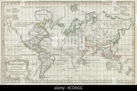 1784, Vaugondy Map of the World on Mercator Projection - Stock Photo