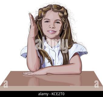 schoolgirl raising her hand - Stock Photo