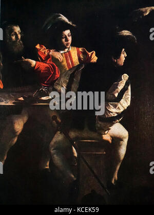 Painting titled 'The Calling of St Matthew' by Caravaggio (1571-1610) an Italian painter of the Baroque period. - Stock Photo
