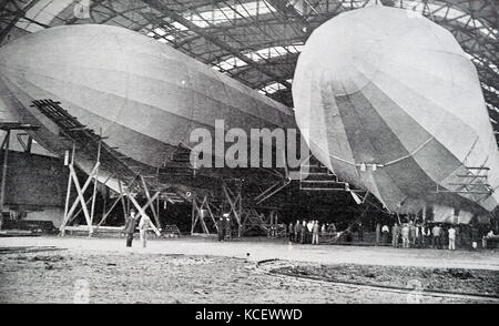 Photograph of Zeppelin Airships in a Hanger, named after the German Count Ferdinand von Zeppelin (1838-1917) a German - Stock Photo