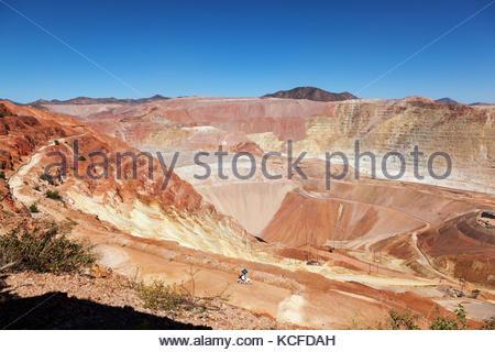 Morenci Mine Complex, Freeport-McMoRan Copper & Gold, Arizona, open pit mine and leach pads, taken 10/2/2017 - Stock Photo