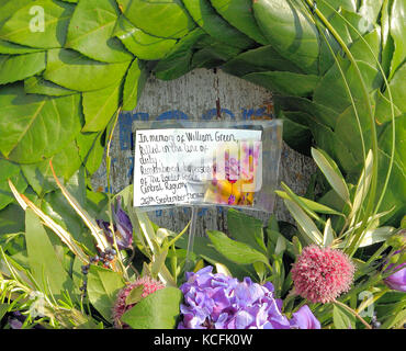 William Green gravestone, with Border Force wreath, 26 September, 2017, Old Hunstanton churchyard, Norfolk, detail - Stock Photo