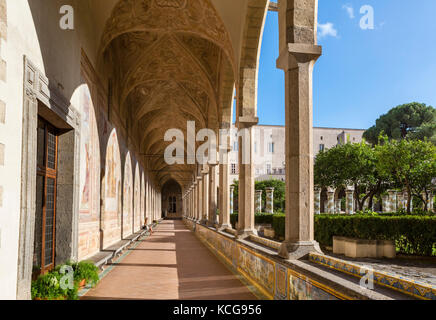 The Cloister of Santa Chiara (Chiostro di Santa Chiara), Convent of Santa Chiara, Naples, Italy - Stock Photo
